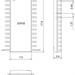 SOIC28 Socket 300mil to DIP28 Adapter(SOIC16W,SOIC20,SOIC28 to DIP28) แบบกดปิด