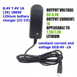 8.4V / 7.4V Lithium ion/Polymer Charger with 1A Charging Current Lipo Battery Charger with DC head 5.5 * 2.1mm Indicator LED