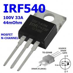 IRF540 (TO-220) MOSFET N-Channel 33A/100V,130W Rds(on) 0.44Ω Max