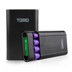 TOMO V8-4 Intelligent Portable DIY Display Power Bank Box 18650 Battery (สีดำ)