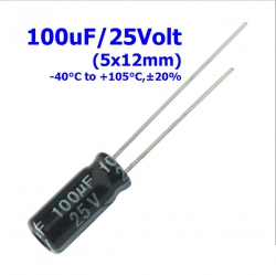 100uF 25V (5x12mm) Radial Electrolytic Capacitor