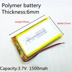 603759 3.7V 1500mAh Li-polymer Rechargeable Battery Li-Po