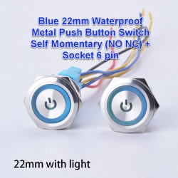 BLUE 22mm Waterproof Metal Push Button Switch Self Momentary (Non lock)(NO NC )