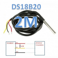 2m DS18B20 (One Wire Waterproof(กันน้ำ) Temperature Sensor) สายยาว 2 เมตร