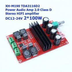 100Wx2 XH-M190 TDA3116D2 DC 12V-24V Class D Stereo HIFI amplifier สำเนา