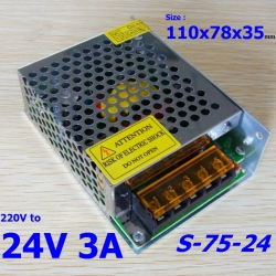 24V 3A 220Vac to 24VDC switching power supply (S-75-24)