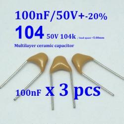 100nF (0.1uF) Multilayer Ceramic Capacitor ( 3ตัว) ( 3 pcs per lot)