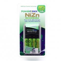 4 NiZn 1.6V 2500mWh AA Battery GENIX + PowerGenix ZR-PGX1HRAA-4B Charger +1 Case