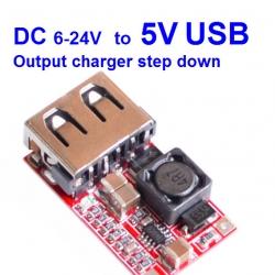 DC 6-24V 12V/24v to 5V USB Output charger step down Power Module