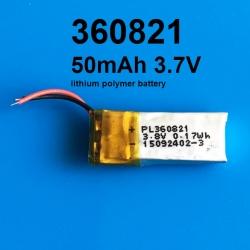 360821 3.7V 50mAh Li-polymer Rechargeable Battery Li-Po
