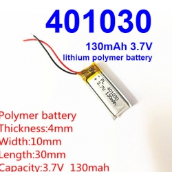 401030 3.7V 130mAh Li-polymer Rechargeable Battery Li-Po