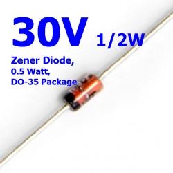 30V 1/2W Zener Diode, 0.5 Watt, DO-35 Package