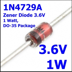 3.6V 1W 1N4729A Zener Diode, 1 Watt, DO-35 Package