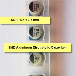 100uF 35Volt (6.3x7.7mm) ALUMINUM ELECTROLYTIC CAPACITORS