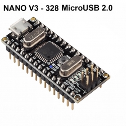 Nano V3 ATmega328/CH340G, Micro USB, Pin headers Compatible for Arduino Nano V3.0