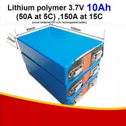 1 ก้อน 3.7V 10AH , 50A(5C), 150A at 15C Lithium Polymer battery large capacity power batteries