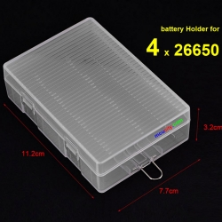 4 x 26650 Portable Transparent battery Holder for Batteries 26650 Storage Box Battery Cover
