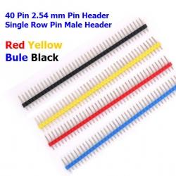(4pcs) 40 Pin 2.54 mm Pin Header Single Row Pin Male Header 4 color