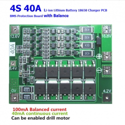 4S 40A 14.80V 16.80V 18650 lithium battery protection Board with balanced Version for drill 40A current