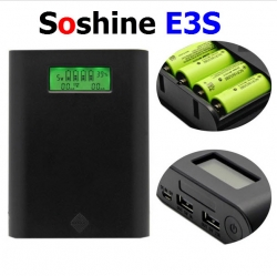 Soshine E3S 4 Slots 18650 Battery Charger Power Bank Case - BLACK