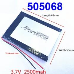 505068 3.7V 2500mAh Li-polymer Rechargeable Battery Li-Po