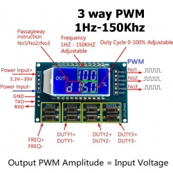 3 WAY PWM Pulse Frequency Duty Cycle Adjustable Module LCD Display 3.3V-30V 1Hz-150Khz
