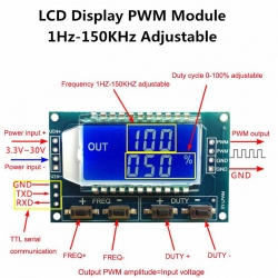 Signal Generator PWM Pulse Frequency Duty Cycle Adjustable Module LCD Display 3.3V-30V 1Hz-150Khz PWM Board Module