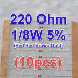 220 ohm 221 220Ohm 1/8W 5% Carbon Film Resistor (10 ตัว) (10pcs per lot)