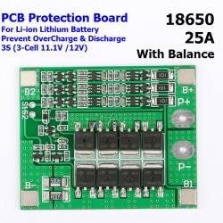 3S 25A 11.1V 12.6V 18650 lithium battery protection Board with balanced Version for drill 25A current