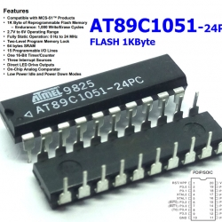 AT89C1051-24PC (DIP20) 8-bit Microcontroller with 1KB Flash SRAM 64 byte