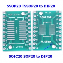SOIC20 SOP20 SSOP20 TSSOP20 to DIP20 PCB SMD DIP/Adapter plate Pitch 0.65/1.27mm