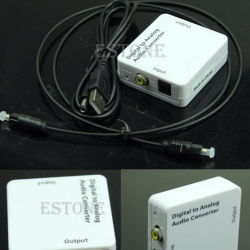 TV Optical SPDIF/Coaxial Digital to RCA L/R Analog Audio Converter Headphone Out