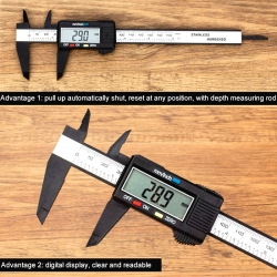 150mm Digital Vernier Caliper Gauge Carbon Fiber Micrometer 0.1mm