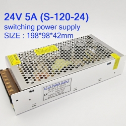 24V 5A switching power supply (S-120-24) ขนาด: 198*98*42mm