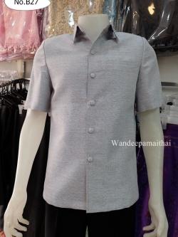 เสื้อผ้าไหมญี่ปุ่นชาย สีเทาเงิน ซับผ้ากาวทั้งตัว กระเป๋า 3 ใบ เบอร์ S