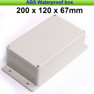 Waterproof IP65 Enclosure Box ABS Plastic Electronic Project Instrument Case 200*120*67mm with 4pcs Screws and Sealed Line