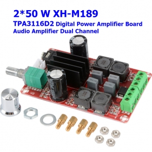 2*50W XH-M189 high end digital power amplifier board TPA3116D2 DC24V dual channel stereo power amplifier board