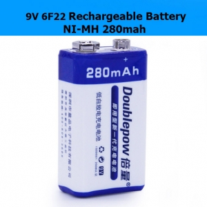 Doublepow 9V 6F22 Rechargeable Battery NI-MH 280mah Microphone Multimeter batteries