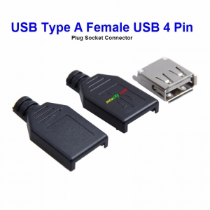 USB Type A Female USB 4 Pin Plug Socket Connector With Black Plastic Cover