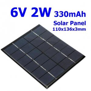 6V 2W 330mA Solar Panel 110x136x3mm