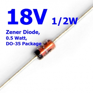 18V 1/2W Zener Diode, 0.5 Watt, DO-35 Package