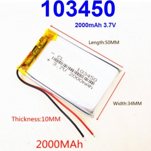 103450 3.7V 2000mAh Li-polymer Rechargeable Battery Li-Po