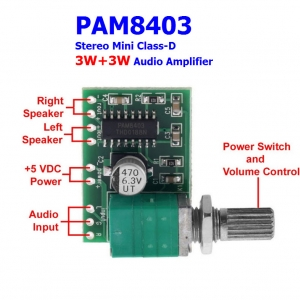 PAM8403 5V Stereo Mini Class-D 3W+3W Audio Amplifier with Volume Control