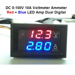 DC 0-100V 10A Digital Voltmeter Ammeter Red + BLUE LED Dual Display Voltage Current Indicator Monitor