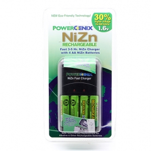 4 NiZn 1.6V 2500mWh AA Battery GENIX + PowerGenix ZR-PGX1HRAA-4B Charger +1 Case
