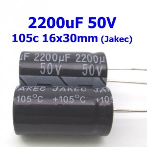 2200uF 50V Radial Electrolytic Capacitor (16x30mm) Jakec