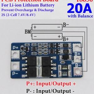 2S 20A w/Balance 18650 Li-ion Lithium Battery BMS Protection PCB Board 7.4V 8.4V