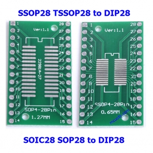 SOIC28 SOP28 SSOP28 TSSOP28 to DIP28 PCB SMD DIP/Adapter plate Pitch 0.65/1.27mm