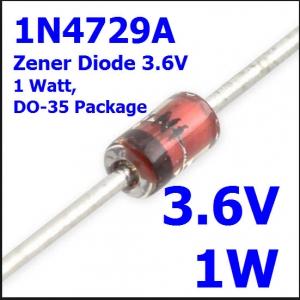 3.6V 1W 1N4729A Zener Diode, 1 Watt, DO-35 Package