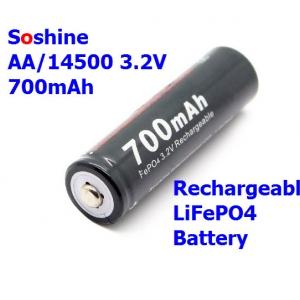 1 pcs Soshine AA /14500 LiFePO4 Battery ( 700mAh 3.2V)